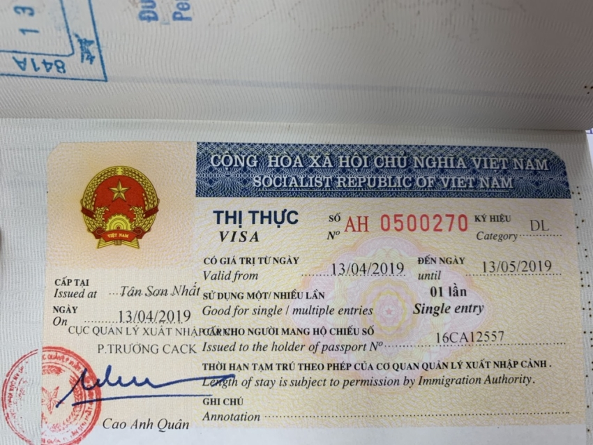 Vietnam tourist visa - 1 month single entry