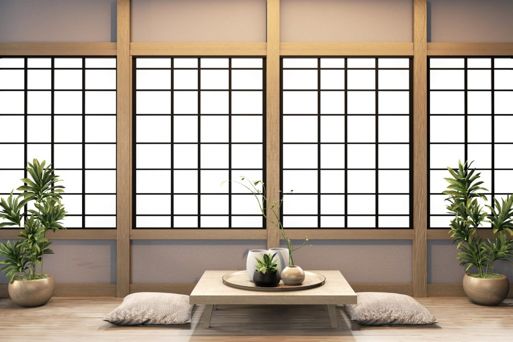Ryokan living room japanese style on wall wooden decoraion
